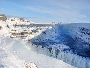 Der gefrorene Wasserfall Gullfoss
